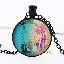 Dream Catcher Necklace photo Glass Dome black Chain Pendant Necklace wholesale