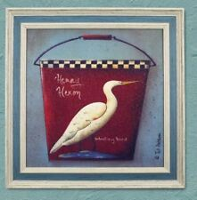 Home Decor Painting Picture Canvas Wooden Frame Wall Henry Heron Wading Bird