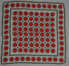 VINTAGE 1950s ivory silk scarf with red circles and black squares modernist
