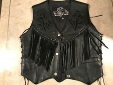 LEATHER KING BLACK LEATHER MOTORCYCLE VEST FRINGED ,CONCHO BRAIDED TRIM XS WOMEN