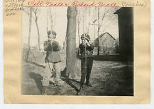 2 Vintage B/W Snapshot Photos-NEALE Family (Will & Richard) W/Bow & Arrows
