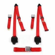 IH Scout 1961 - 1980 Airplane 3pt Red Retractable Bench Seatbelt Kit - 3