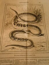 Caricature 1880 - The Snakes One meurt indigestion d'have ate L'other
