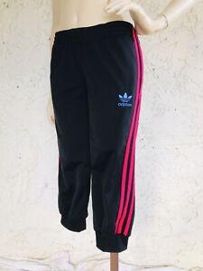 ADIDAS Pants Black Pink Stripe Cropped Athleisure Size M