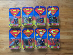8 SUPERMAN Man Of Steel Sealed Figure Lot KENNER 1995 VINTAGE SUPERBOY STEELE ++