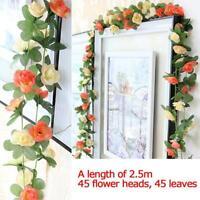 Artificial Flower Silk Rose Leaf Garland  Wedding Landscaping Decor