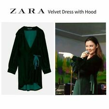 ZARA Green Velvet Crossover Wrap Dress with Hood S BNWT