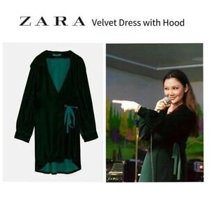 ZARA Green Velvet Crossover Wrap Dress with Hood S BNWT