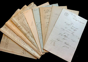 LOT OF NINE OLD DOCUMENTS 1800s