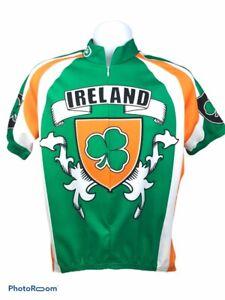 Ireland 3/4 Zip Mens Medium Green Cycling Athleticwear Jersey St patricks day