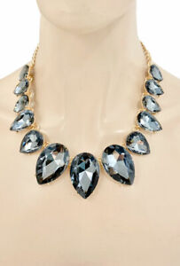 Statement Necklace Jewelry Set Dark Gray Teardrop Crystal Drag Queen Casual Chic