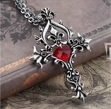 Vampire Diaries Red Sacred Heart Crystal Memorial Cross Necklace US Seller