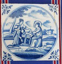 Antique 18thC.Dutch Delft Blue White Bible Biblical Religious Tile
