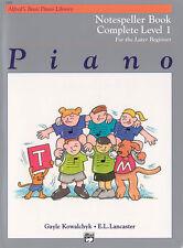 Alfred's Basic Piano Notespeller Cmpl 1; Kowalchyk & Lancaster. - 6160