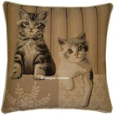 Two Kittens Paw Right Tapestry Cushion Pillow Sham