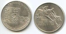G10065 - Tschechoslowakei 100 Korun 1990 KM#141 Reiter Horseman Silber XF-UNC