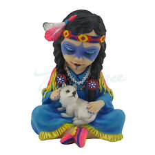 "4.25"" Cosplay Kids Indian Girl W/ Wolf Statue Figurine Figure Native American"