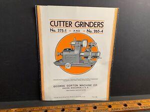1930 Gorton Cutter Grinders #375-1 & 265-4  Machine Brochure, Racine WI, #10