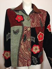 Alex Kim by Alure Small S Tapestry Jacket Blazer Applique Embroidery Cool Button
