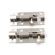 "2 x Silver Tone Door Lock Latch Slide Barrel Bolt Clasp Set 2"" Long C&H"