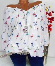 Bluse Carmen Italy Tunika Shirt Poncho Hippie doppellagig Flamingo Altweiß 44 46