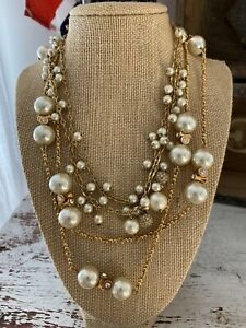 J. Crew Jewelry LOT Necklace Long Pearl Necklaces Rhinestones Gold Layering