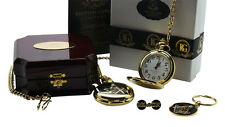 FREEMASON Pocket Watch Keyring and Lapel Pin Plaque Gift Set Luxury Wooden Case