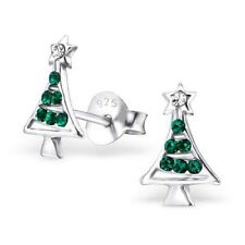 Childrens Girls 925 Sterling Silver Christmas Tree Crystal Stud Earrings - Pouch