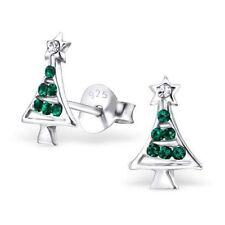 Niños Niñas 925 Plata Esterlina Aretes Cristal De Árbol De Navidad-Bolsa