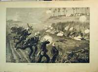 Old Antique Print 1882 War Kindji Osman Charge 60Th Rifles Battle Field 19th