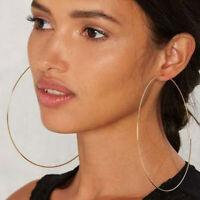 LARGE HOOP EARRINGS thin metal BIG HOOPS 10cm/6cm FASHION GOLD/SILVER