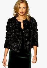 New DRY LAKE Cilla Furry Jacket Black Sz UK M RRP-£85.00