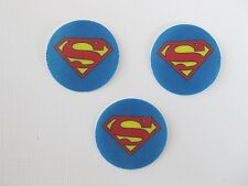 12 PRE CUT EDIBLE RICE WAFER PAPER CARD SUPERMAN SUPERHERO CUPCAKE TOPPERS