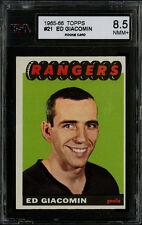 1965-66 TOPPS HOCKEY~#21~ED GIACOMIN~HOF ROOKIE~NEW YORK RANGERS~KSA 8.5 NM-MT+