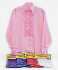 SATIN FRILLY DRACULA VAMPIRE ONE SIZE SHIRTS FANCY DRESS ALL COLOURS HALLOWEEN