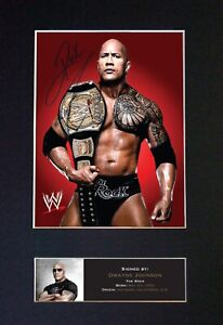 #477 THE ROCK DWAYNE JOHNSON Reproduction Autograph Mounted Signed Photograph A4