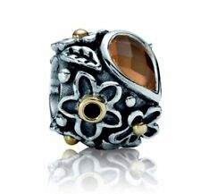 PANDORA Silver, 14ct Gold, Orange Moonstone Flower and Leaf Charm 790540MSO