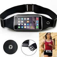 BLACK SPORTS RUNNING WORKOUT WAIST BAG BELT PHONE CASE COVER TOUCH SCREEN - C66