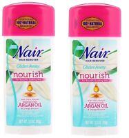 2 Pack Nair Hair Remover, Glides Away, Nourish w/ Argan Oil For Bikini, Arms...