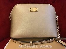 NWT MICHAEL KORS SAFFIANO LEATHER CINDY LARGE DOME CROSSBODY BAG IN PALE GOLD