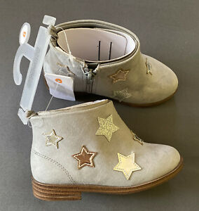 Toddler Girl Size 8 Gymboree Gray Textile Metallic Star Zip Up ankle Boots Shoes