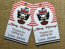 18x PERSONALISED Pirate Theme Thank You Tags Favour Tags Birthday Tags Nautical
