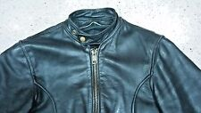 Vtg Brooks Cafe Racer Brass Hardware Leather Motorcycle Jacket Branded Zipper 38