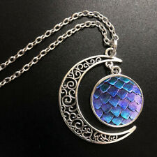 Dragon Scales Art Pendant Choker Jewelry Silver Moon Necklace For Women Dres