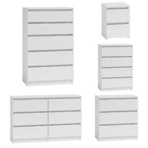 White Chest Drawers Tall Wide Draws Bedroom Storage Furniture Hallway 6318