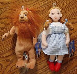1998 Warner Bros Wizard of Oz Stuffed Animal Beanbag Plush Lot of 2 Dorothy/Lion