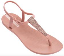 Ipanema Women`s Flip Flops Shimmer Sandal Pink Brazilian T-Strap Sandals NWT