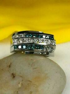Channel Set Engagement Wedding Men's Band Ring 14K White Gold 2.01 Ct Sapphire