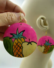 Vtg New Large Artsy Tropical Pink Fun Funky Wood Drop Dangle Pierced Earrings 80
