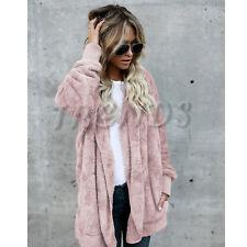 UK Womens Teddy Hooded Fluffy Coat Fleece Faux Fur Jacket Ladies Tops Cover